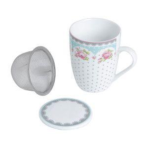 Caneca de porcelana com tampa e filtro