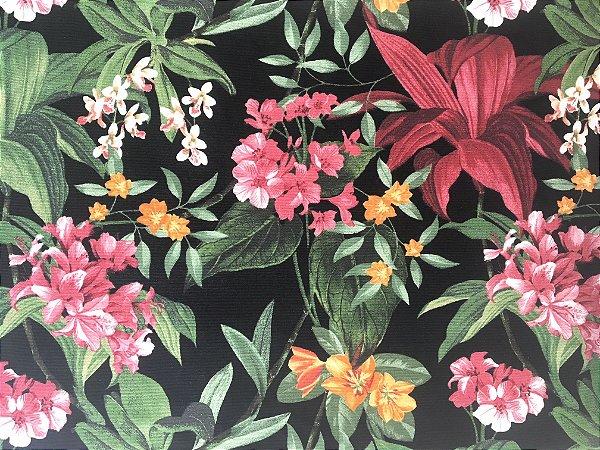 Jogo americano impermeável floral fundo preto