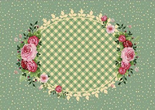 Jogo americano estampa digital com centro oval e rosas