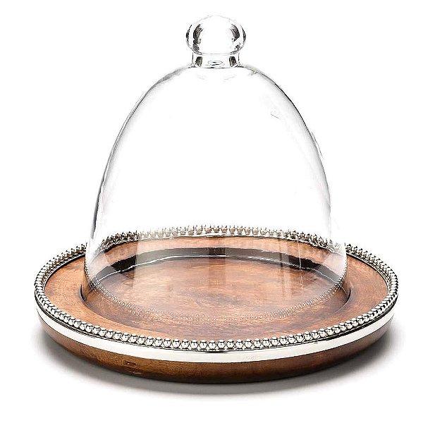 Prato para bolo com base em madeira e cúpula de vidro
