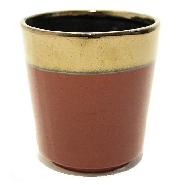 Vaso em cerâmica vermelho com dourado na borda