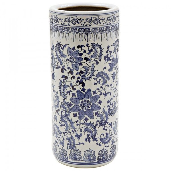 Porta guarda chuva em cerâmica azul e branco