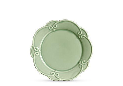 Prato raso em cerâmica verde celadon