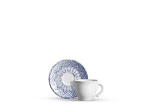 Xícara para chá em cerâmica mandala branco e azul