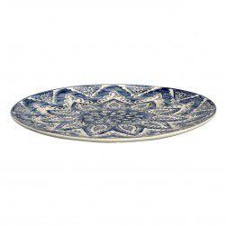 Prato de sobremesa em cerâmica azul e branco