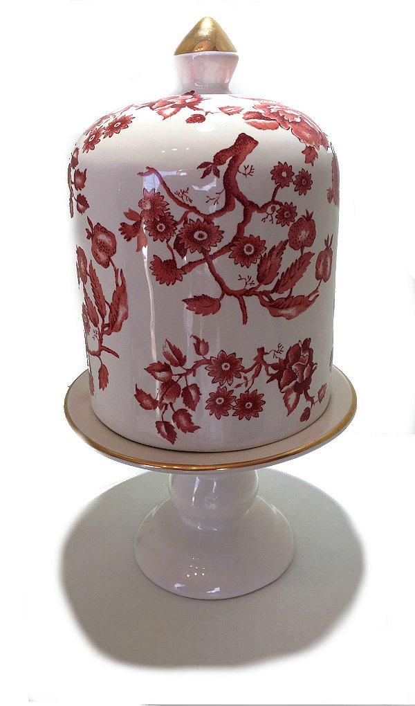 Porta panetone em cerâmica rose M
