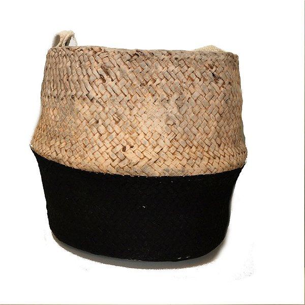 Vaso basket em cimento bege e preto