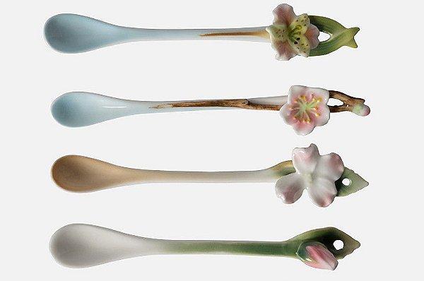 Kit colheres porcelana com flores