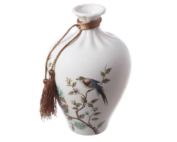 Vaso em cerâmica estampa pássaro M