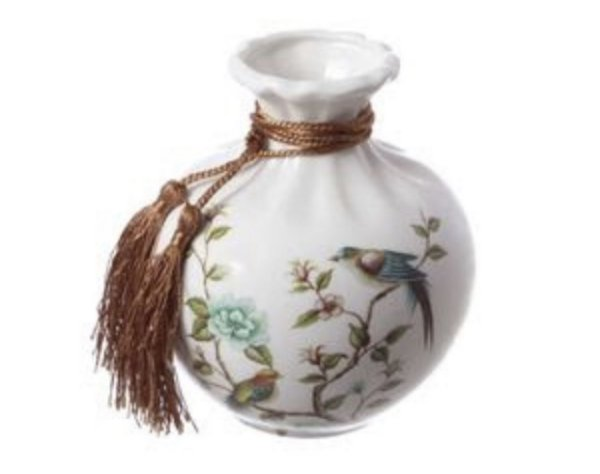 Vaso em cerâmica estampa pássaro P