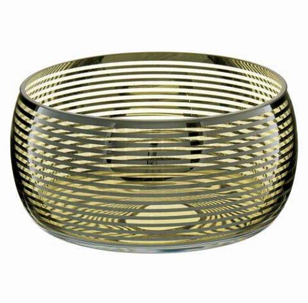 Bowl / Centro de mesa em vidro com detalhe prata