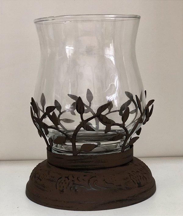 Castiçal folhas de ferro e vidro
