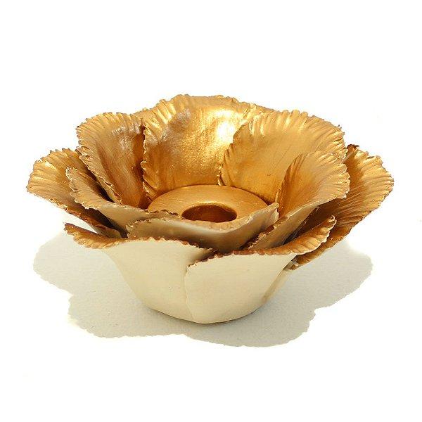 Castiçal flor cerâmica cobre
