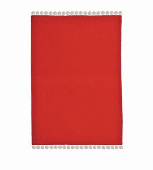Jogo americano vermelho com pompom