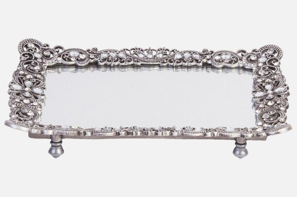 Bandeja retangular com espelho e pedrarias