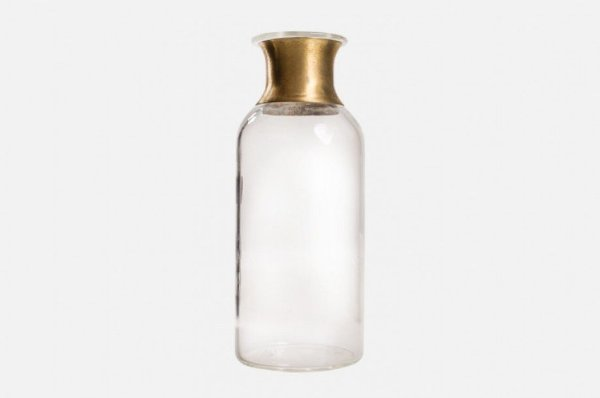 Mini vaso em vidro com detalhe dourado