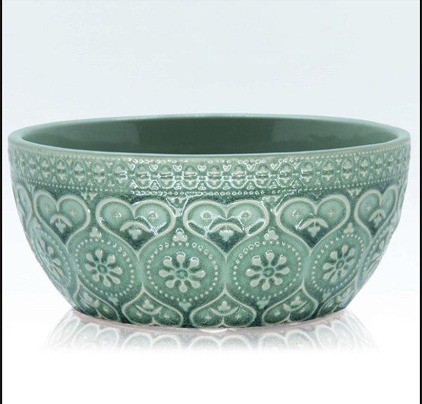 Bowl de cerâmica heart turquesa
