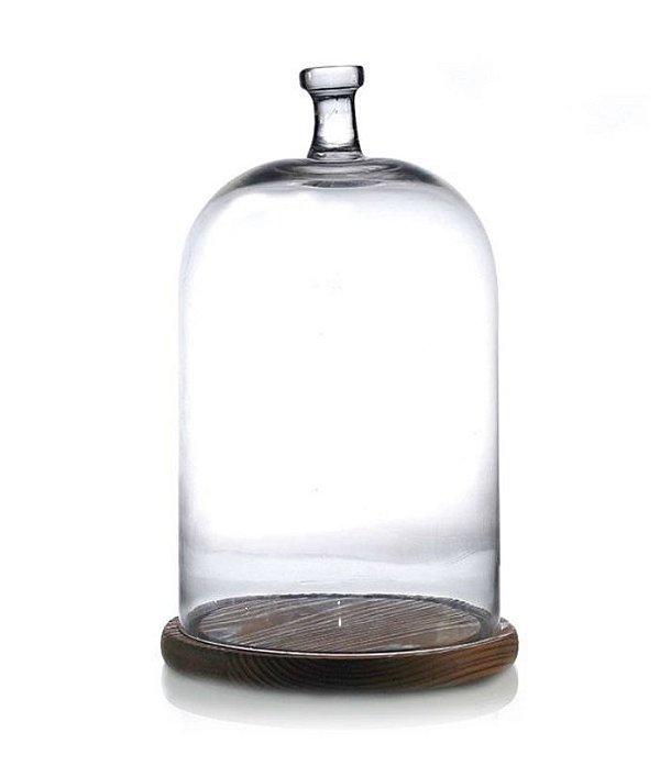 Cúpula em vidro com base transparente