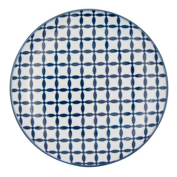 Prato porcelana geométrico azul e branco