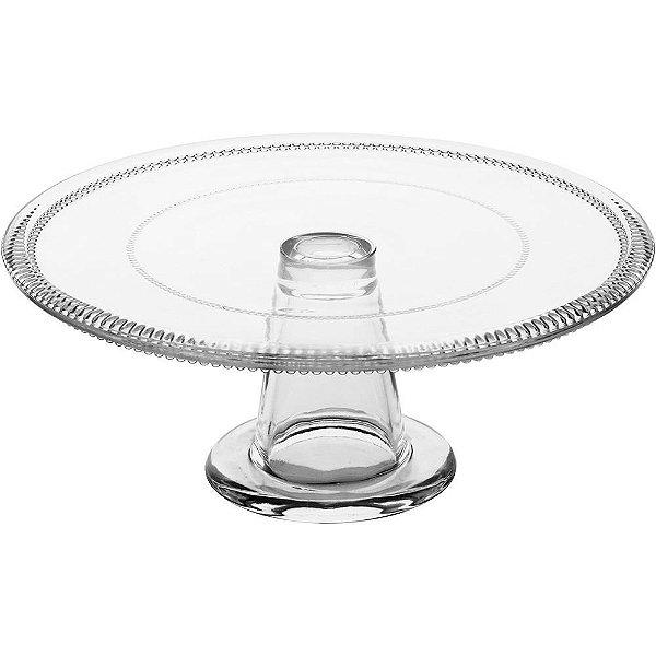 Prato para bolo em vidro transparente
