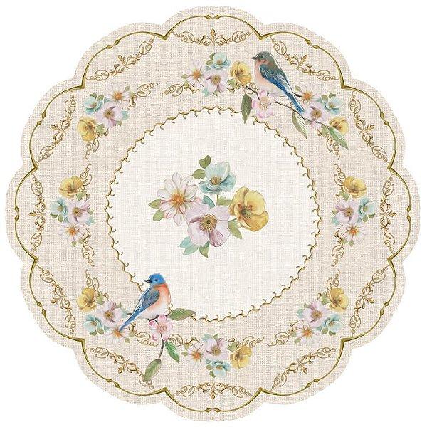 Jogo americano 3D flores e pássaros romantic