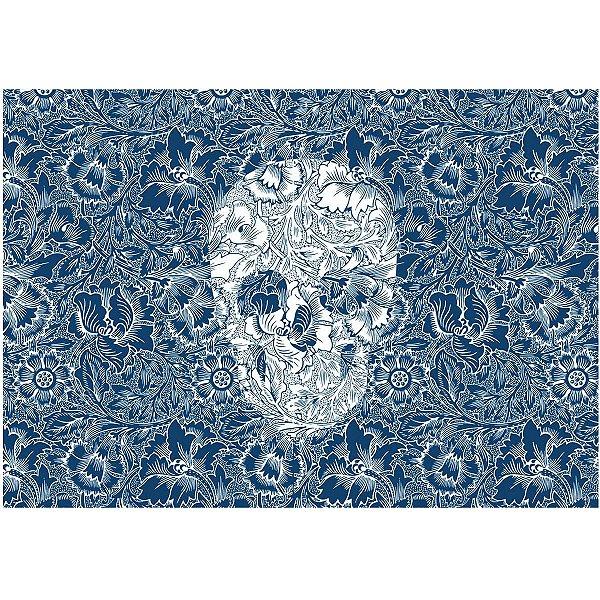 Jogo Americano Skull Flowers Blue - 02 Peças