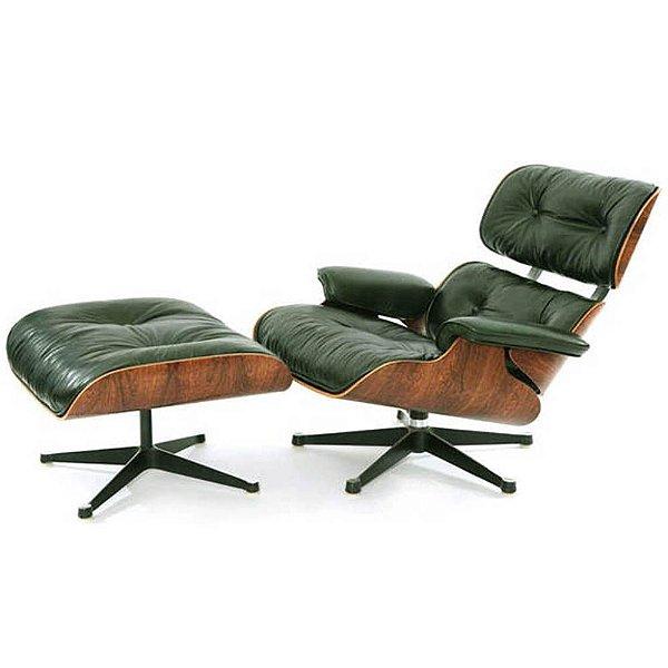 Poltrona Eames Lounge Couro Natural Verde