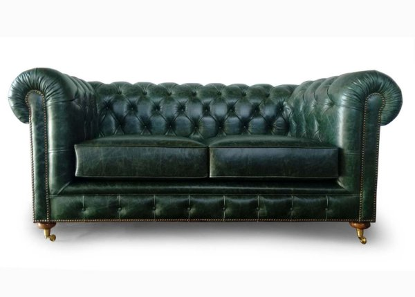 Sofa Chesterfield 2 Lugares Couro Natural Verde