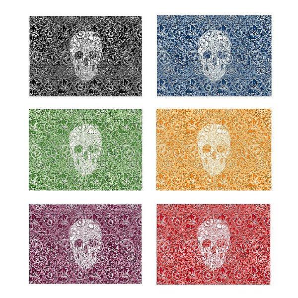Jogo Americano Skull Color - 06 Peças