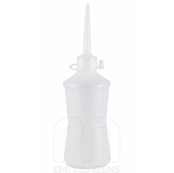 Almotolia de plástico 300 ml com bico reta Cinturinha (10 unid.)