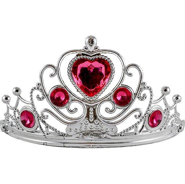 Tiara de Princesa Plástica para Festas Pedra Rosa (1 unid.)