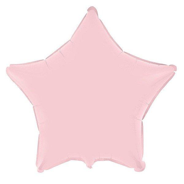Balão Metalizado para Festas Estrela 45 cm Rosa Bebê (1 unid.)