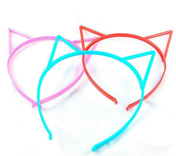 Tiara Gatinho de Plástico Simples para Festas (12 unid.)