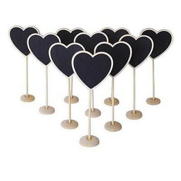 Mini Lousa Quadro Negro de Formato de Coração Lembrancinhas (10 unid.)
