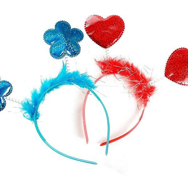 Tiara para Festa Flor e Coração Luxo (1unid.)