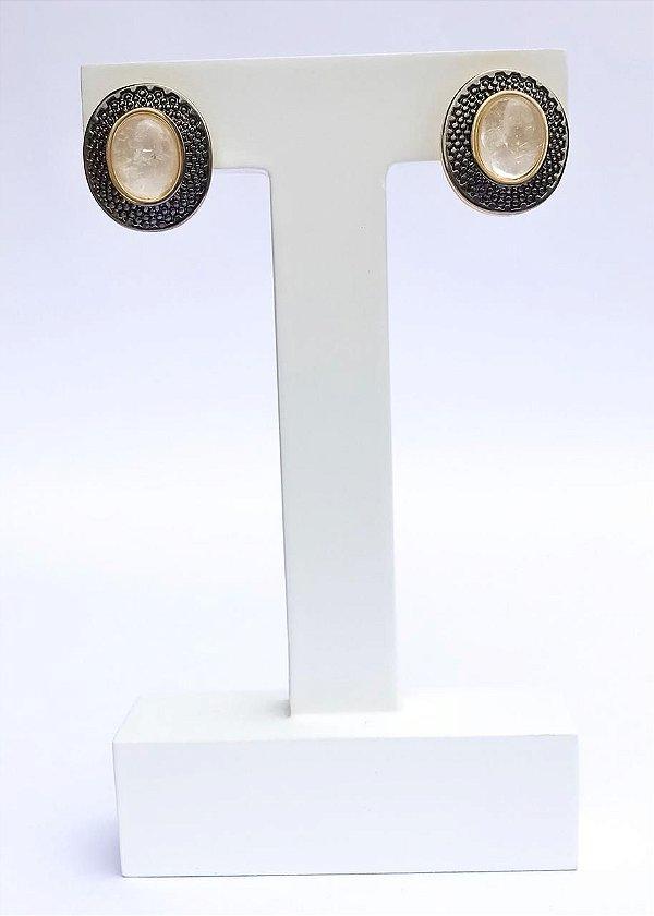 Brinco Cristal de Rocha Banhado em Ouro e Ródio Negro