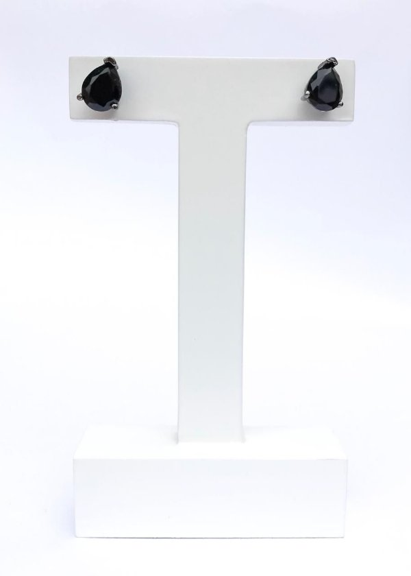 Brinco Gota Média Cristal Preto Banhado em Ródio Negro
