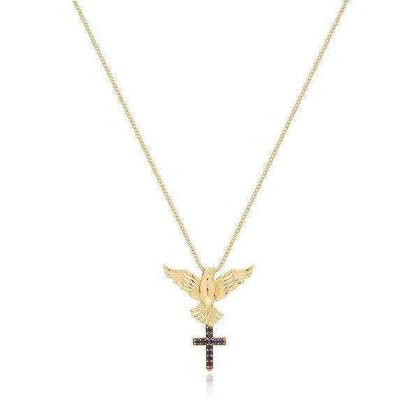 Colar Espírito Santo Cravejado com Zircônia Azul Banhado a Ouro