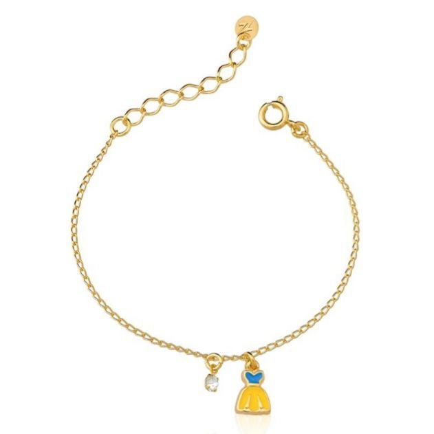 Pulseira Kids Banhada a Ouro com Pingente Vestido Amarelo e Ponto de Luz