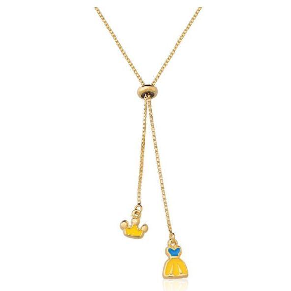 Colar Kids Banhado a Ouro com Pingente Vestido e Coroa Amarelo