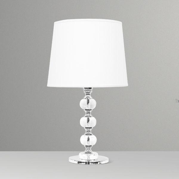 Abajur Decorativo 3 Bolas Vidro Cristal Cúpula Tecido Bivolt 57cm de Altura Golden Art E-27 M719 Criados-mudos e Salas