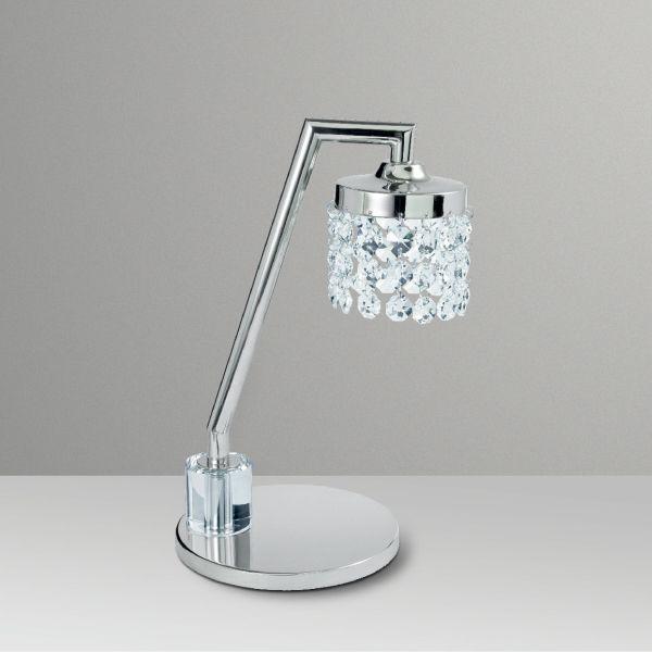 Abajur Luminária de Mesa Cromada Cúpula Cristal Bivolt 26cm de Altura Agnes Golden Art G9 M068 Estudo e Leitura