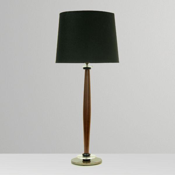 Abajur Rústico Madeira Maciça Cúpula Preta Tecido Bivolt 94cm de Altura Hampton Golden Art E-27 M063 Mesas e Salas