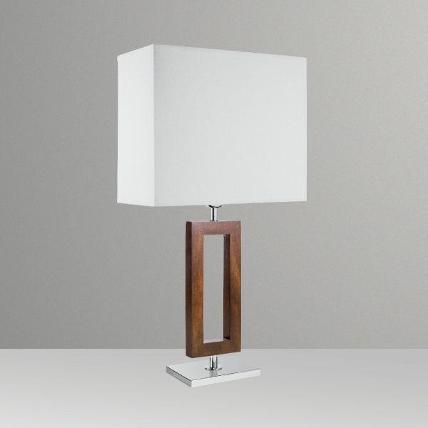 Abajur Rústico Decorativo Retangular Madeira Cúpula Tecido Bivolt 60cm de Altura Golden Art E-27 M631-MA Quartos e Salas