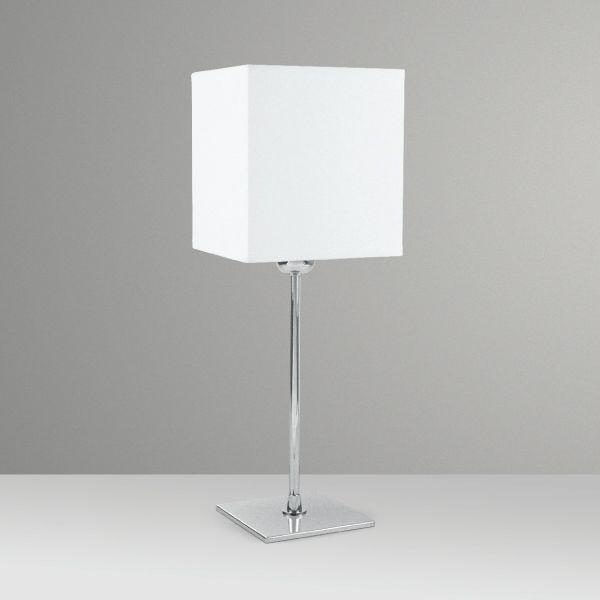 Abajur Palito Alumínio Cromado Cúpula Quadrada Tecido Bivolt 45cm de Altura Golden Art M622 Criados-mudos e Salas