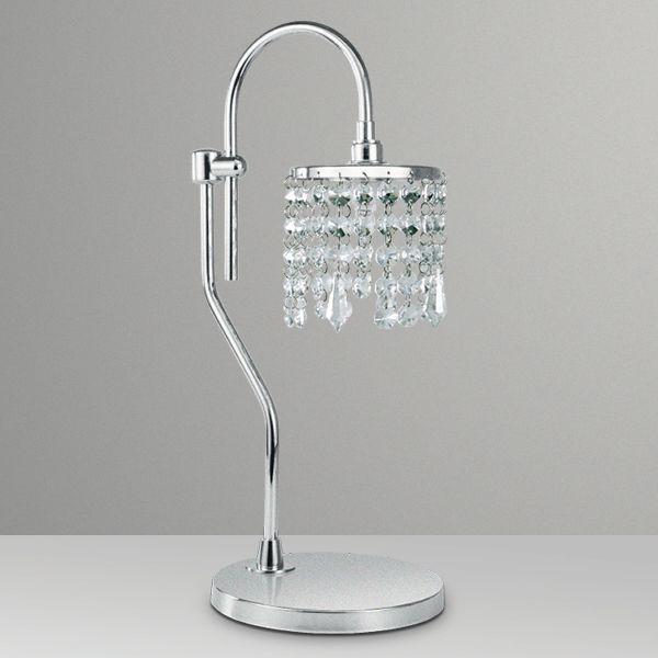 Abajur Luminária de Mesa Gancho Cúpula Cristal Bivolt Estudo 38cm de Altura Kelly Golden Art G9 M603 Cabeceiras e Mesas