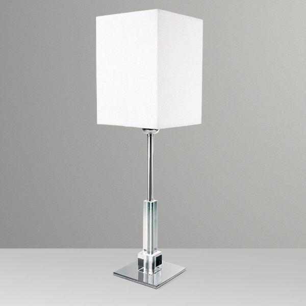 Abajur Cromado Base Vidro Cristal Cúpula Tecido Bivolt 57cm de Altura Golden Art E-27 M692 Quartos e Salas