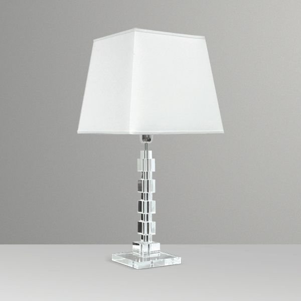 Abajur Cubos Vidro Cristal Alternados Cúpula Tecido Bivolt 71cm de Altura Golden Art E-27 M681 Cabeceiras e Salas