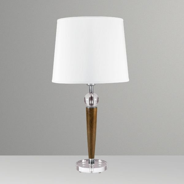 Abajur Rústico Madeira Maciça Cristal Cúpula Tecido Bivolt 60cm de Altura Gaya Golden Art E-27 M721 Quartos e Salas