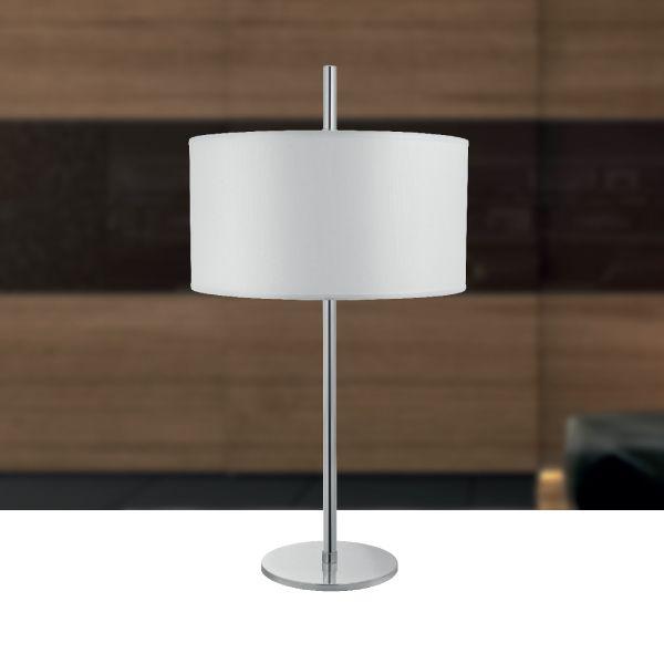 Abajur Palito Alumínio Cromado Cúpula Tecido Bivolt 72cm de Altura Marriot Golden Art E-27 M717 Criados-mudos e mesas